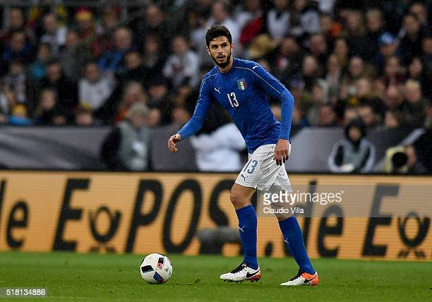 Andrea Ranocchia of Italy in action during the international friendly match between Germany and Italy at Allianz Arena on March 29 2016 in Munich...