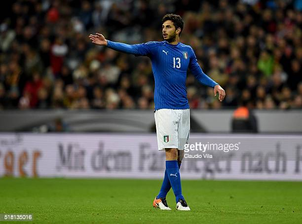 Andrea Ranocchia of Italy reacts during the international friendly match between Germany and Italy at Allianz Arena on March 29 2016 in Munich Germany