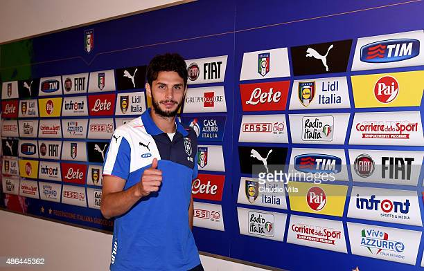 Andrea Ranocchia of Italy walks past the mixed zone prior to the UEFA EURO 2016 qualifier between Italy and Malta on September 3 2015 in Florence...