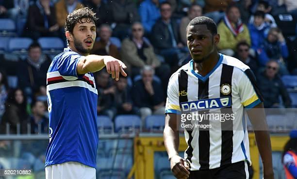 Andrea Ranocchia of UC Sampdoria and Duvan Zapata of Udinese Calcio during the Serie A match between UC Sampdoria and Udinese Calcio at Stadio Luigi...