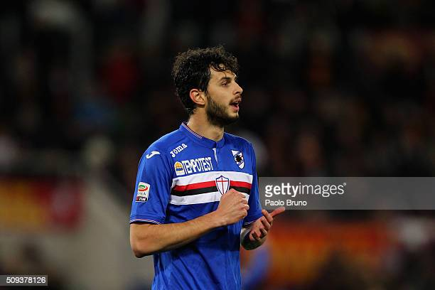 Andrea Ranocchia of UC Sampdoria looks on during the Serie A match between AS Roma and UC Sampdoria at Stadio Olimpico on February 7 2016 in Rome...