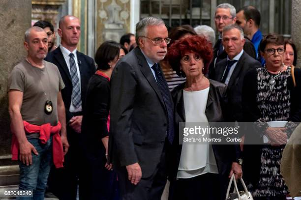 Andrea Riccardi community of Sant'Egidio founder and Valeria Fedeli Minister of Education during mass of prayer in memory of the three Roma girls...