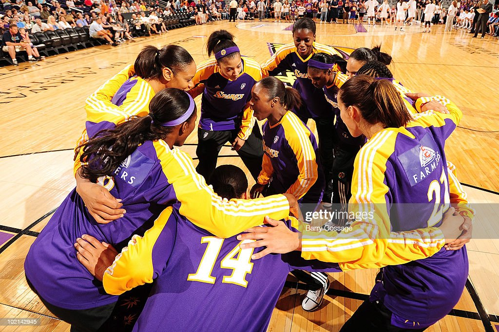 Andrea Riley #10 of the Los Angeles Sparks gets in the team huddle before taking on the Phoenix Mercury in the WNBA game on June 4, 2010 at U.S. Airways Center in Phoenix, Arizona. The Mercury won 90-89.