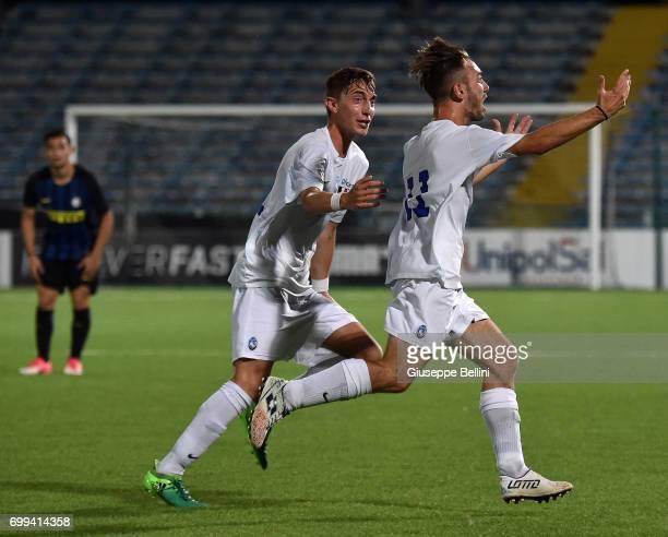 Andrea Rinaldi of Atalanta BC celebrates after scoring goal 22 during the U17 Serie A Final match between Atalanta BC and FC Internazionale on June...