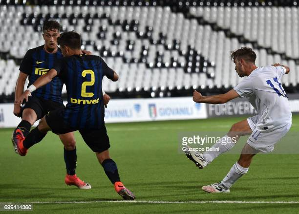 Andrea Rinaldi of Atalanta BC scores goal 22 during the U17 Serie A Final match between Atalanta BC and FC Internazionale on June 21 2017 in Cesena...