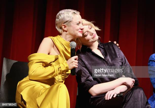 Andrea Riseborough and Emma Stone attend The Academy of Motion Picture Arts Sciences Hosts an Official Academy Screening of THE BATTLE OF THE SEXES...