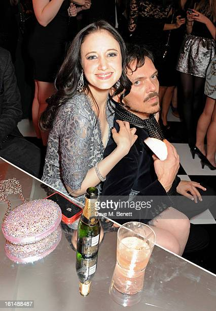 Andrea Riseborough and Matthew Williamson attend the after party following the Elle Style Awards at The Savoy Hotel on February 11 2013 in London...