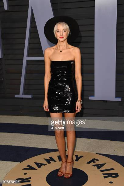 Andrea Riseborough attends the 2018 Vanity Fair Oscar Party hosted by Radhika Jones at the Wallis Annenberg Center for the Performing Arts on March 4...