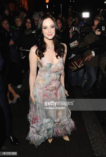 Andrea Riseborough attends the preBAFTA dinner hosted by Charles Finch and Chanel at Annabels on February 9 2013 in London England