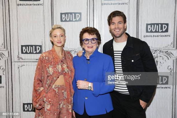 Andrea Riseborough Billie Jean King and Austin Stowell visit Build to discuss Battle of the Sexes at Build Studio on September 20 2017 in New York...