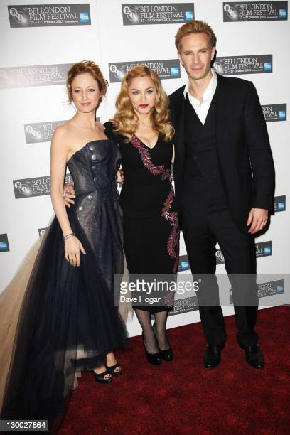 Andrea Riseborough, Madonna and James D'Arcy attend the premiere for 'W.E' at The 55th BFI London Film Festival at The Empire Leicester Square on...