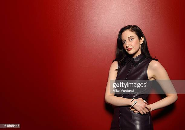 Andrea Riseborough poses in the portrait studio at the PreBafta party hosted by EE and Esquire ahead of the 2013 EE British Academy Film Awards at...