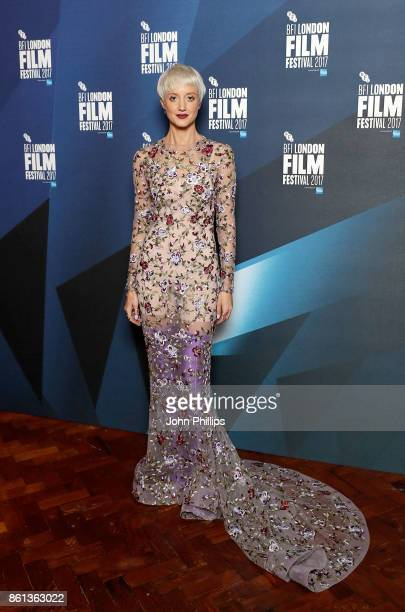 Andrea Riseborough poses in the winners room at the 61st BFI London Film Festival Awards on October 14 2017 in London England