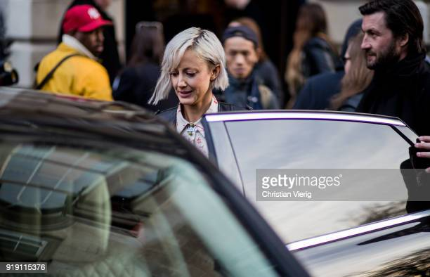 Andrea Riseborough seen outside Mulberry during London Fashion Week February 2018 on February 16 2018 in London England