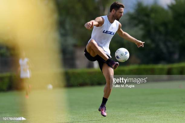Andrea Rispoli in action during a US Citta' di Palermo training session at Carmelo Onorato training center on August 16 2018 in Palermo Italy