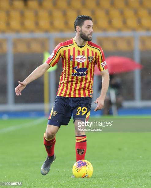 Andrea Rispoli of Lecce during the Serie A match between US Lecce and Cagliari Calcio at Stadio Via del Mare on November 25 2019 in Lecce Italy