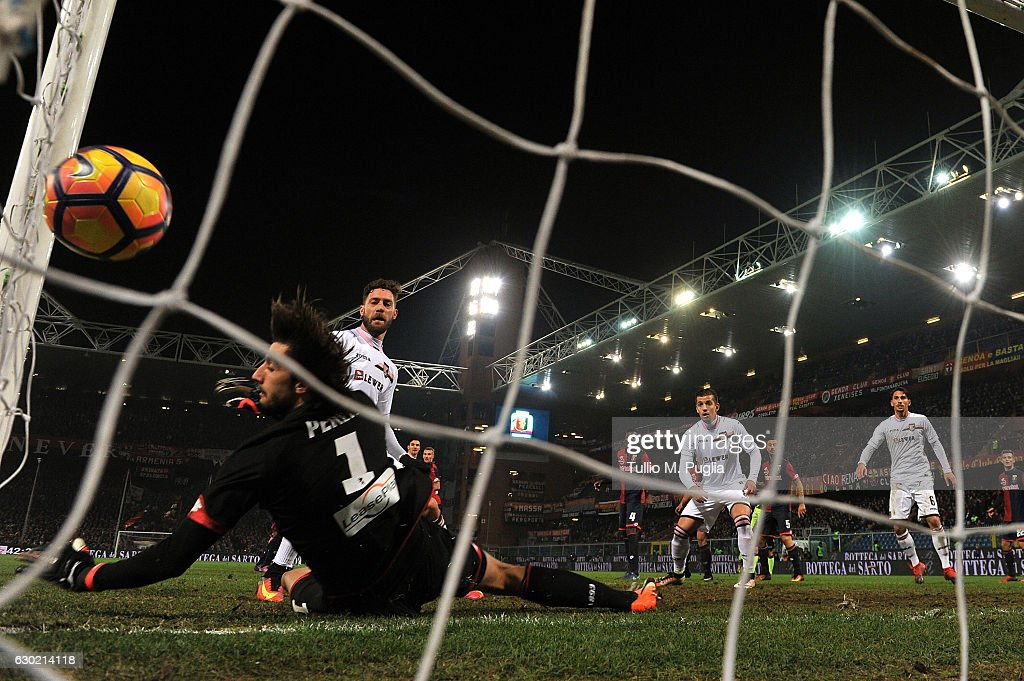 Andrea Rispoli of Palermo scores his team's third goal (3-3) during the Serie A match between Genoa CFC and US Citta di Palermo at Stadio Luigi Ferraris on December 18, 2016 in Genoa, Italy.