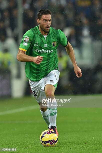 Andrea Rispoli of Parma FC in action during the Serie A match between Juventus FC and Parma FC at Juventus Arena on November 9 2014 in Turin Italy