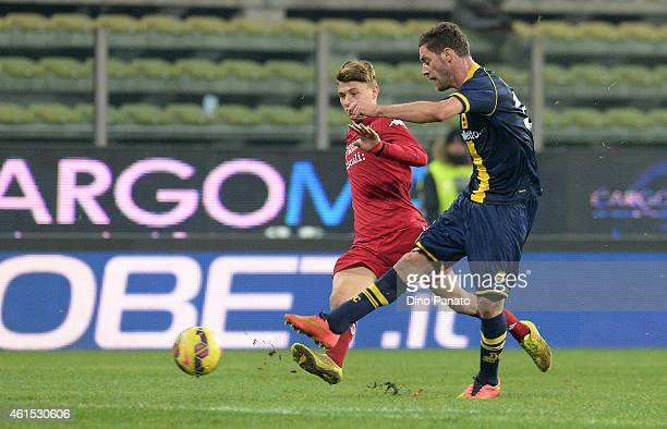 Andrea Rispoli of Parma FC scores his team's second goal during the TIM Cup match between Parma FC and Cagliari Calcio at Stadio Ennio Tardini on...