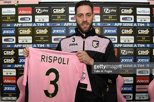 Andrea Rispoli poses during his presentation as new players of US Citta di Palermo at Campo Tenente Onorato on February 5 2015 in Palermo Italy