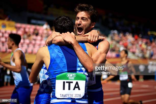 Andrea Romani of Italy celebrates with his team mates after Italy win gold in the final of the men's 4x400m relay on day six of The IAAF World U20...
