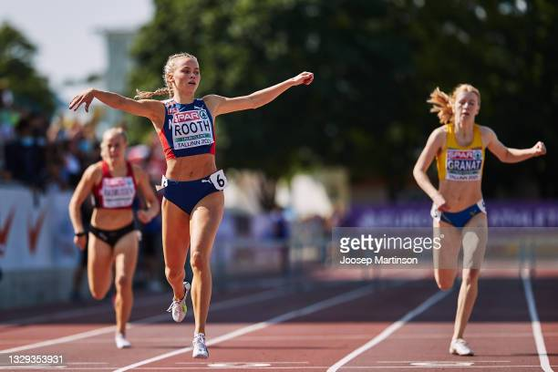 Andrea Rooth of Norway celebrates in the Women's 400m Hurdles Final during European Athletics U20 Championships Day 4 at Kadriorg Stadium on July 18,...