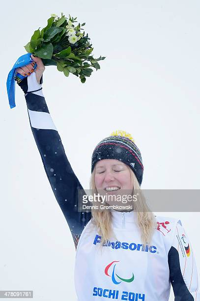 Andrea Rothfuss of Germany at the Flower Ceremony after winning gold medal in the Women's Slalom Standing during day five of Sochi 2014 Paralympic...