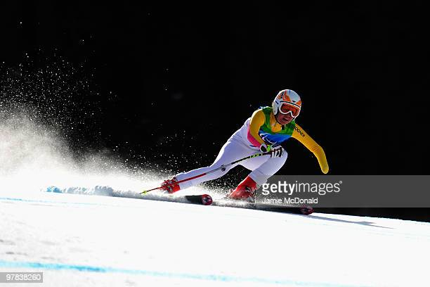 Andrea Rothfuss of Germany competes in the Women's Standing Downhill during Day 7 of the 2010 Vancouver Winter Paralympics at Whistler Creekside on...