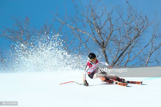 Andrea Rothfuss of Germany competes in the Women's Super Combined Visually Impaired Alpine Skiing event at Jeongseon Alpine Centre during day four of...