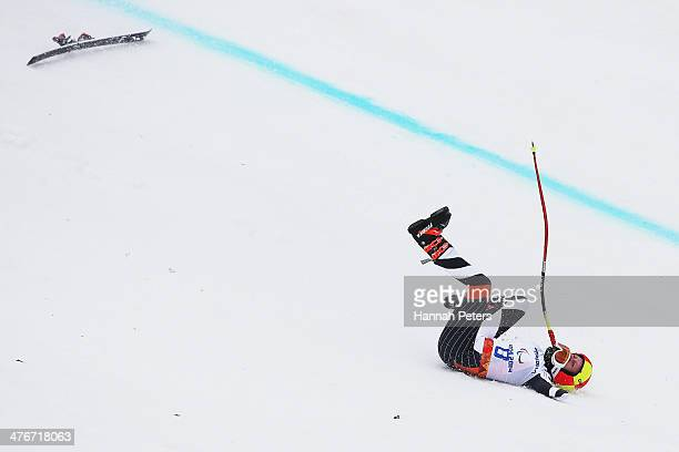 Andrea Rothruss of Germany crashes out during the Women's downhill standing training session at Rosa Khutor Alpine Center on March 5 2014 in Sochi...