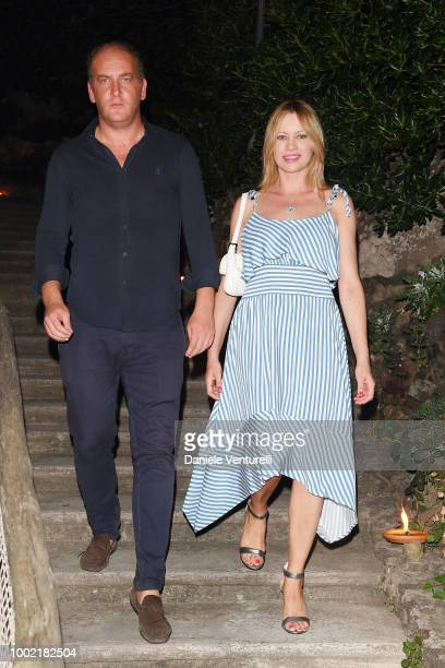 Andrea Ruggieri and Anna Falchi attend 2018 Ischia Global Film Music Fest on July 19 2018 in Ischia Italy