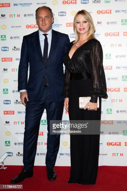 Andrea Ruggieri and Anna Falchi attend the celebrations of the 80 years of the Oggi magazine at Hotel Principe di Savoia on October 02 2019 in Milan...