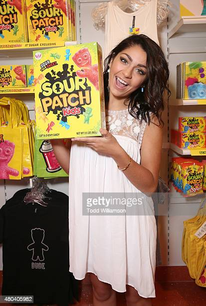 Andrea Russett Helps Launch Exclusive SOUR PATCH KIDS Collection At IT'SUGAR Fashion Island at Fashion Island Shopping Center on July 11 2015 in...