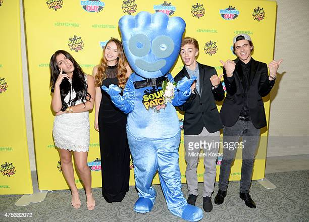Andrea Russett Meredith Foster and Jack Jack attend Sour Patch Kids #spkpromposal prom at the Loews Santa Monica Beach Hotel on May 30 2015 in Santa...