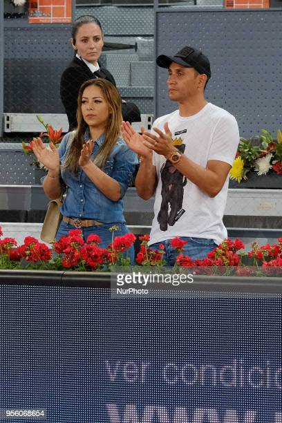 Andrea Salas and Keylor Navas during day four of the Mutua Madrid Open tennis tournament at the Caja Magica on May 8 2018 in Madrid Spain