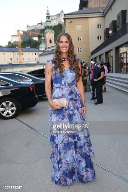 "Andrea Samonigg-Mahrer arrives for the premiere of ""Elektra"" during the opening of the Salzburg Festival 2020 at Salzburg State Theatre on August 1,..."
