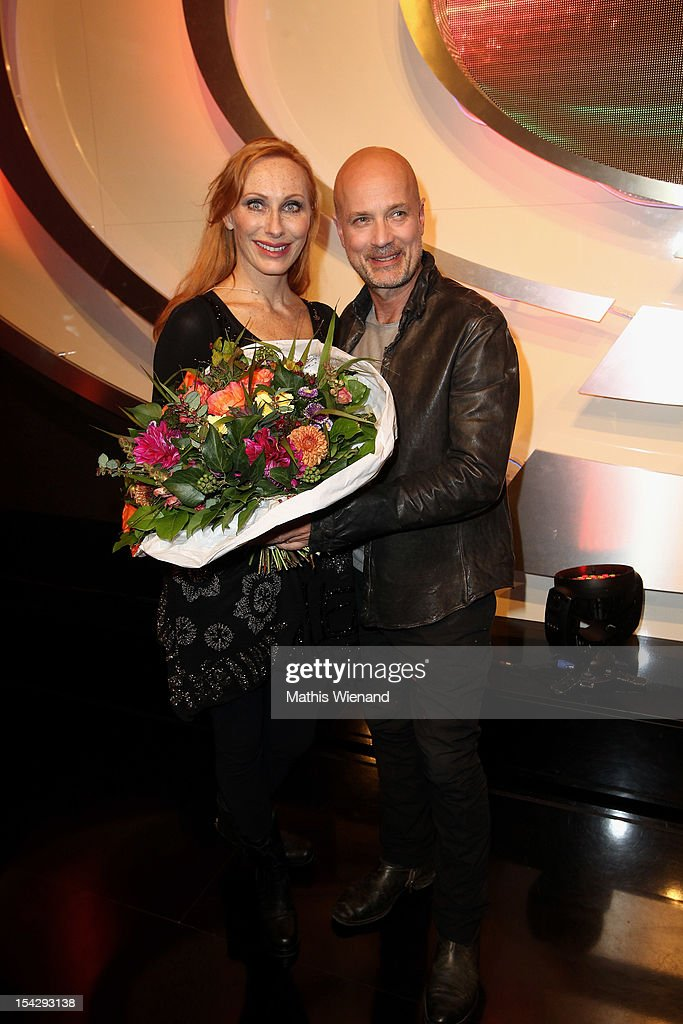 Andrea Sawatzki and Christian Berkel attend 'Die Quizshow' with Joerg Pilawa on October 17, 2012 in Cologne, Germany. The money goes to the 'Welthungerhilfe'!
