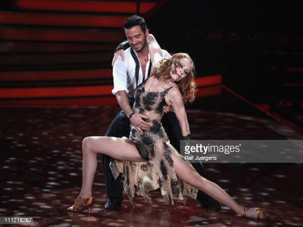 Andrea Sawatzki and Stefano Terrazzino perform during the 'Let's Dance' TV show at Coloneum on March 30 2011 in Cologne Germany