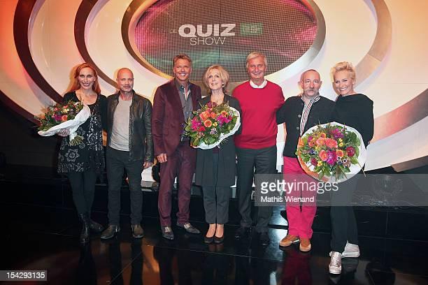 Andrea Sawatzki Christian Berkel Joerg Pilawa Baerbel Dieckmann Guest Horst Lichter Baerbel Schaefer attend 'Die Quizshow' with Joerg Pilawa on...