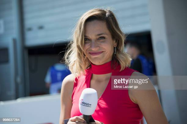 Andrea Schlager of Austria speaks in front of box at end of the qualifying practice during the MotoGp of Germany Qualifying at Sachsenring Circuit on...