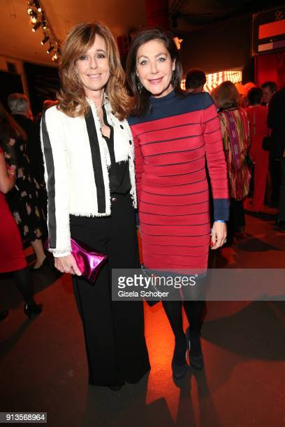 Andrea Schoeller and Alexandra von Rehlingen during Michael Kaefer's 60th birthday celebration at Postpalast on February 2 2018 in Munich Germany