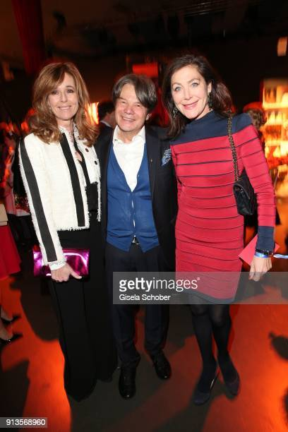 Andrea Schoeller host Michael Kaefer Alexandra von Rehlingen during Michael Kaefer's 60th birthday celebration at Postpalast on February 2 2018 in...