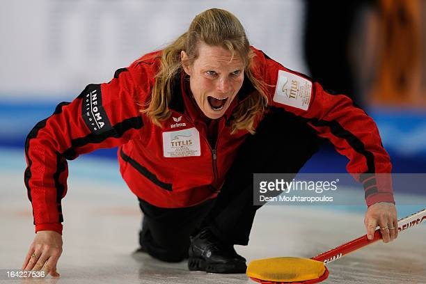 Andrea Schopp of Germany screams instructions after she throws a stone in the match between Germany and Sweden on Day 6 of the Titlis Glacier...
