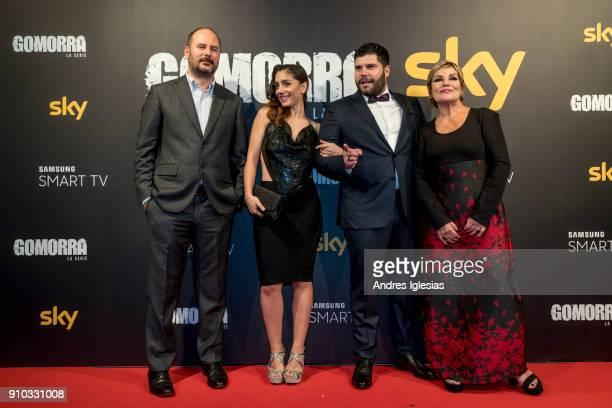 Andrea Scrosati Cristiana Dell'Anna Salvatore Esposito and Cristina Donadio attends the 'Gomorra' season 3 premiere at Palacio de la Prensa on...
