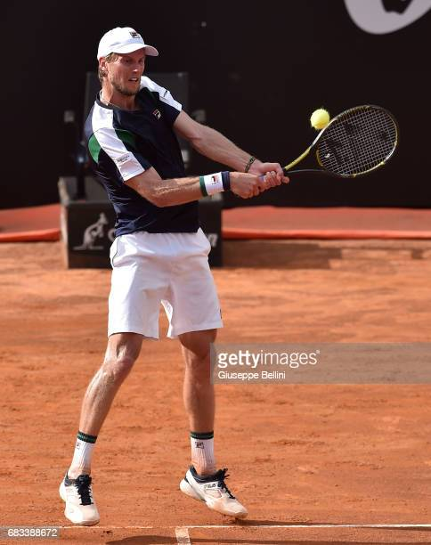 Andrea Seppi of Italy in action during the match between Andrea Seppi of Italy and Nicolas Almagro of Spain during The Internazionali BNL d'Italia...