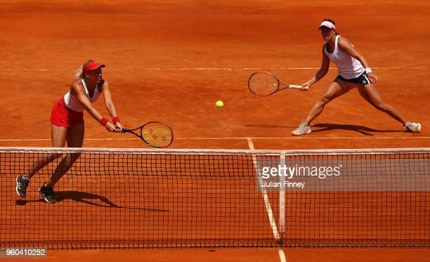Andrea Sestini Hlavackova and Barbora Strycova of Czech Republic in action in their match against Ashleigh Barty of Australia and Demi Schuurs of...
