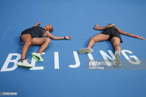 Andrea Sestini Hlavackova and Barbora Strycova of Czech Republic celebrate after winning the Women's doubles final match against Gabriela Dabrowski...