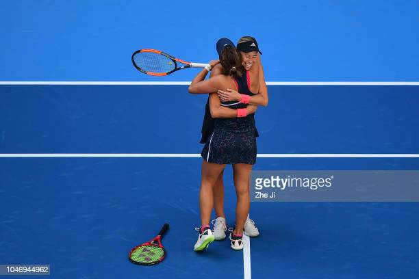 Andrea Sestini Hlavackova and Barbora Strycova of Czech Republic poses with her trophies during the medal ceremony after the Women's doubles final...