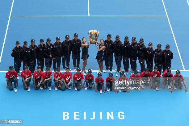 Andrea Sestini Hlavackova and Barbora Strycova of Czech Republic poses with the trophy during the medal ceremony after the Women's doubles final...