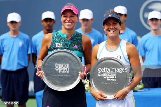 Andrea Sestini Hlavackova of Czech Republic left and Barbora Strycova of the Czech Republic pose with their trophies after defeating SuWei Hsieh of...